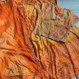 Orange Bandini Indian Lengha